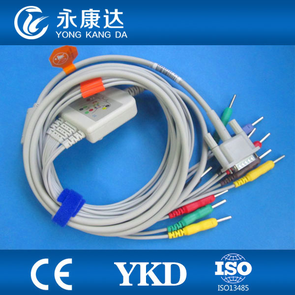 EKG Cable 10 Leads for HP M1770A ecg machine IEC Din 3 0 pin End