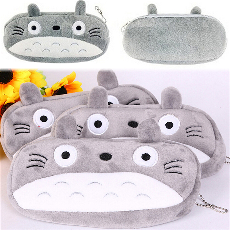 1pcs Kawaii Japan Totoro Plush Cartoon Pen Pencil Case Stationery Wholesale Large Pencil Box School Supplie Stationery Bag