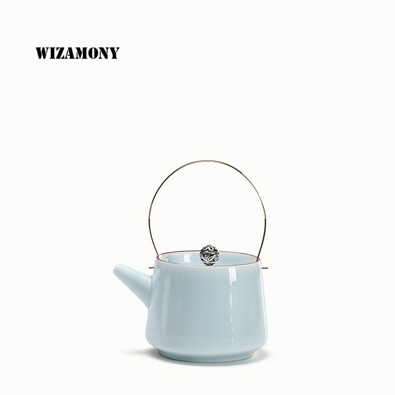 WIZAMONY Ding Kiln Bílá Jade Bílá Modrá Konvice Konvice Konvice 200ml čajový set Celadon Domácnost Jingdezhen Kongfu Čajová souprava