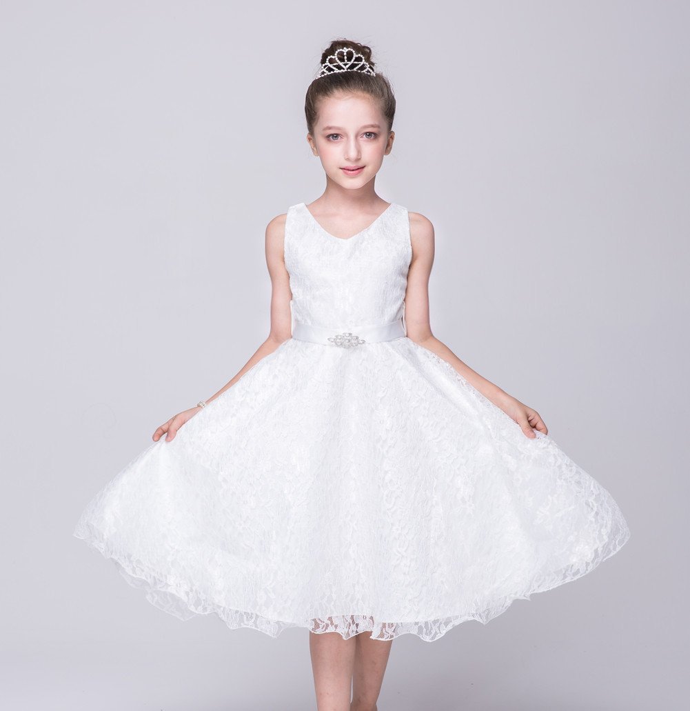 Kid Blue Purple Red White Lace Dress for Little Girls Flower Junior Evening Dresses for Children Wedding Dress for Girls