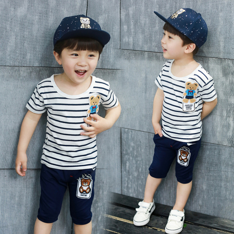 1 2 3 4 5 Years Boys Clothing Set Summer Short Sleeve Stripe Cartoon Bear Boys Cotton Shirt Shorts 2 Pieces Kids Clothes Suit
