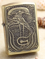 LXF brand brass two sides Retro armor shell weight 30g carved alien replica lighter
