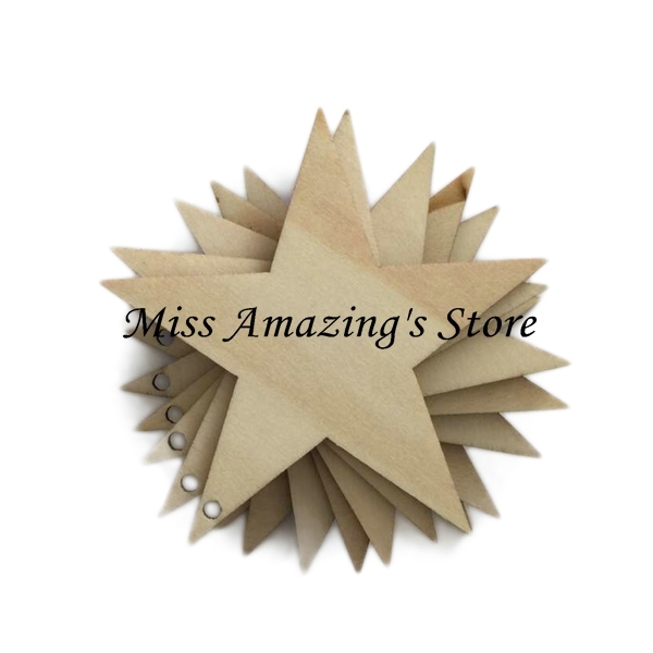 Aliexpresscom Buy 50pcslot 40mm Blank Star Shaped Unfinished Wooden Crafts With Holes Cutouts Plaque Card Making Wood Wedding Diy Decorations