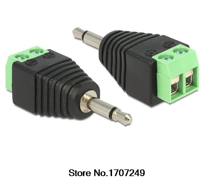 100Pcs Video AV Balun 3.5mm 2Pole Mono Male to AV Screw Terminal Jack 3.5 mm Male 2 Pin Terminal Block Plug Connector