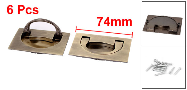 Home Drawer Cabinet Door Concealed Metal Pull Handle Grip Bronze/ Tone Silver Tone 74mmx44mm 6pcs 5 pack home off white silver tone magnetic catch door stopper