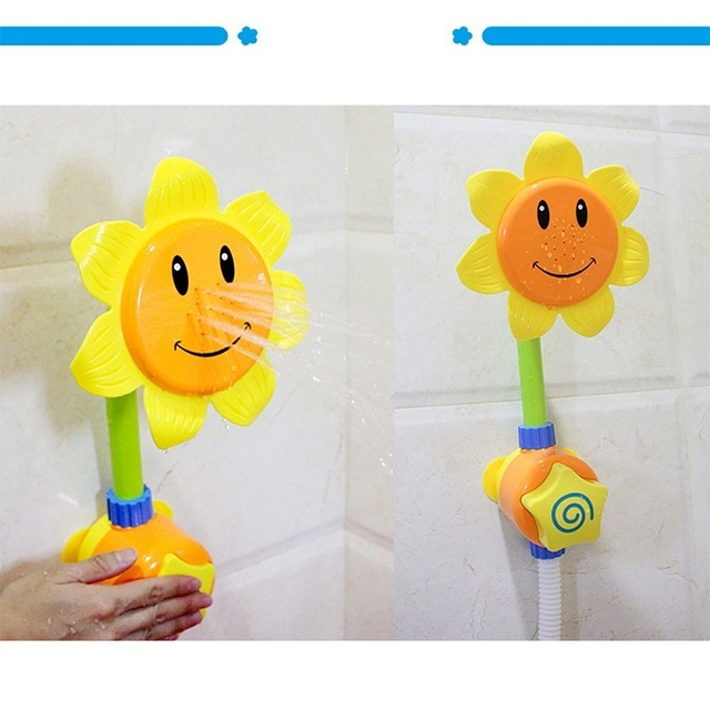 Bathroom Swimming Sunflower Shower Spray Baby Bath Play Toys Sets for Children Water Spraying Taps Early Educational Tool Gifts