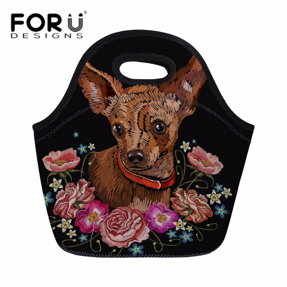 FORUDESIGNS Neoprene Lunch Bag for Women Chihuahua Printing Meal Bags Portable Hand Tote for Girls Kids Kawaii Lunch Box Snacks