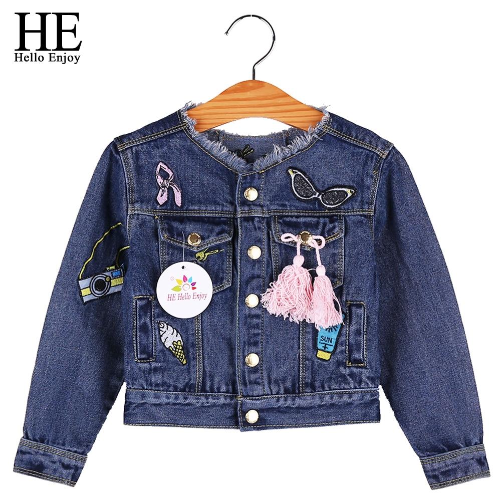HE Hello Enjoy Baby Girls Jackets Coats Cartoon Graffiti Embroidery Toddler Girls Kids Denim Jacket Autumn Winter Outerwear 2018