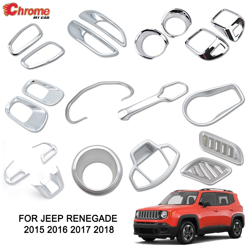 For Jeep Renegade 2015-2018 Chrome Rear Tail Light Lamp Cover Trim Bezel Molding