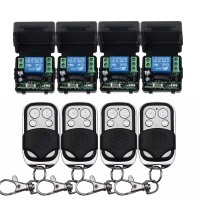 12V 1CH Wireless Remote Control Switch System 4 Transmitter 4 Receiver Relay Smart House Z Wave