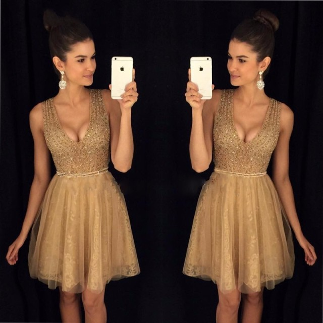 2ca9f94783d Champagne Gold Cocktail Dresses 2017 Sexy V Neck Abendkleider Crystal Lace  Knee Length Cocktail Dress Custom Made