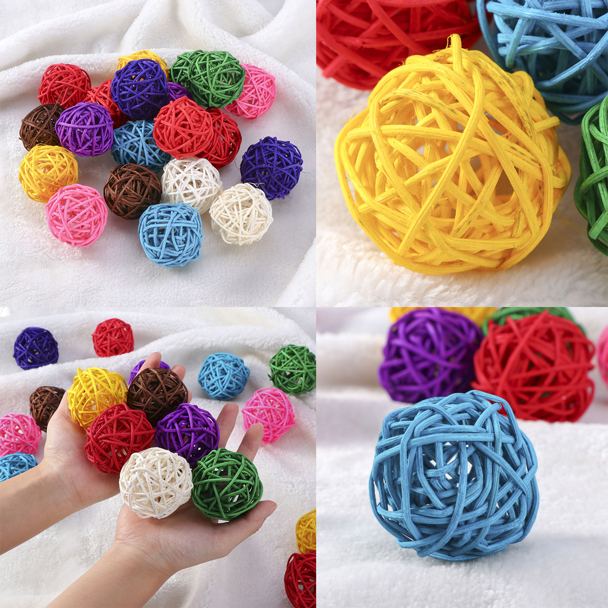 Air Freshener assorted Color 10pcs Wicker Rattan Ball Wedding Christmas Party Hanging Dec Nursery Mobiles 3cm Interior Accessories