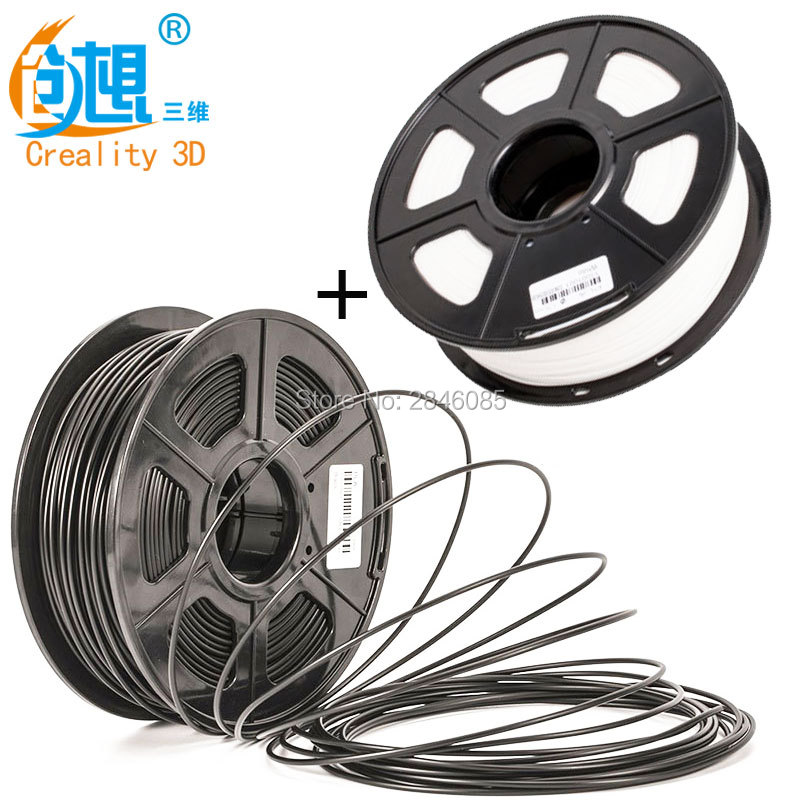 CREALITY 3D Printer PLA Filament Samples 2Pcs 1KG/roll 1.75mm Black+White Two Color for 3D Printer /3D Pen/Reprap/Makerbot стоимость