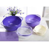 4Pcs/Set Purple Color Drain Basket Bowl Rice Washer Water Ladle Bowl for Kitchen Storage Fruit Vegetable Washing Basket