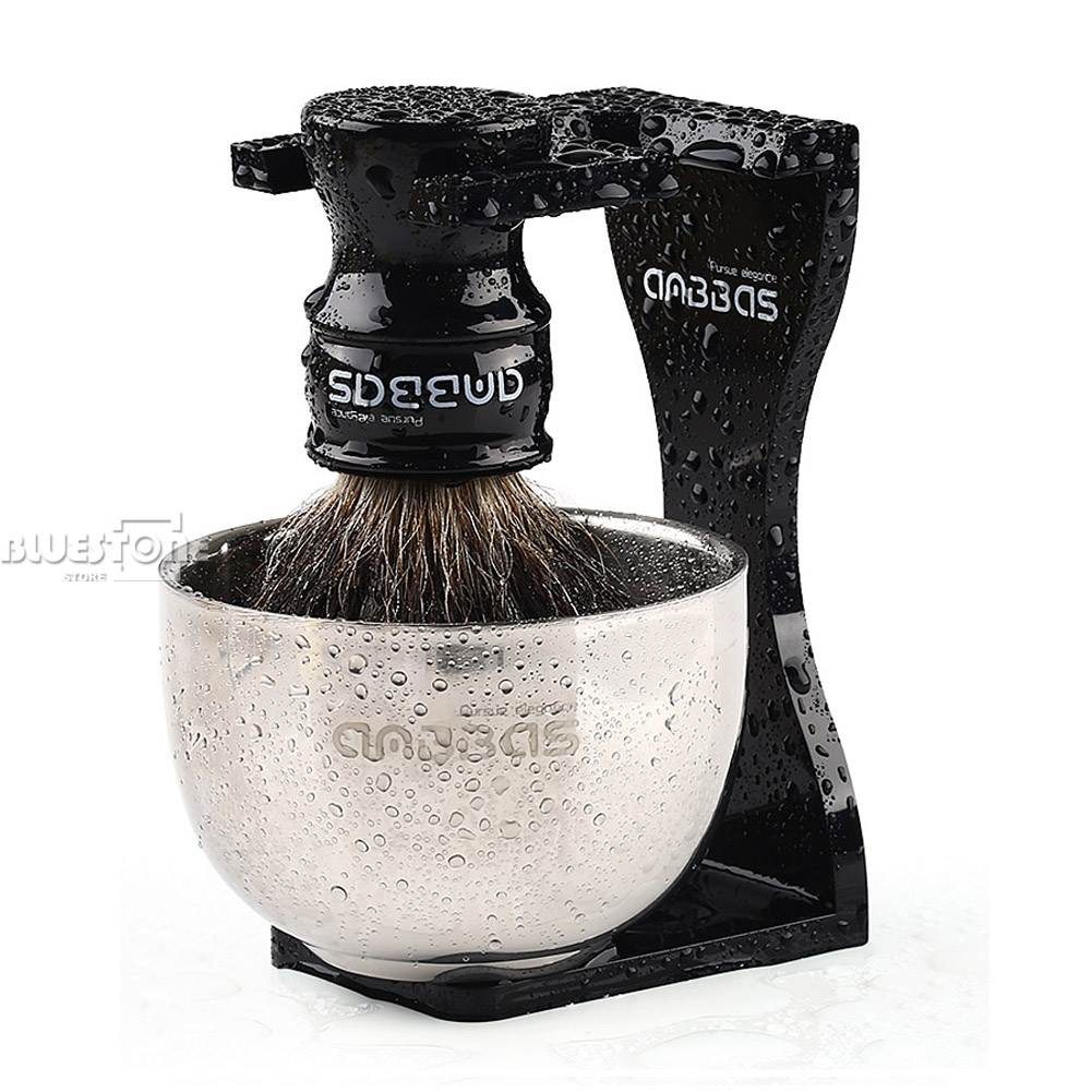 Anbbas Barber Shaving Brush Badger Hair,Black Acrylic Stand, Bowl Set