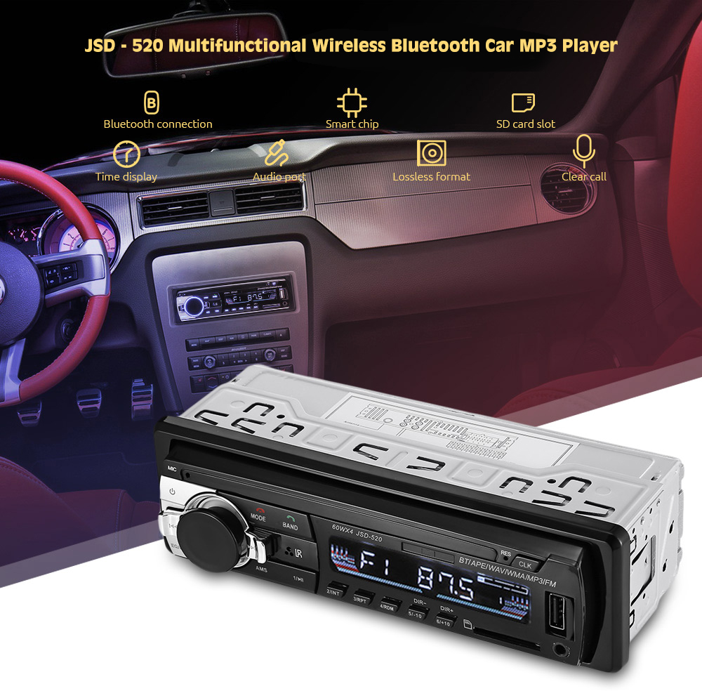 Original JSD - 520 Autoradio 1 Din Car MP3 Player Bluetooth 2.0 FM Radio USB Charger 4 in 1 Stereo Receiver DC 12V with SD AUX image