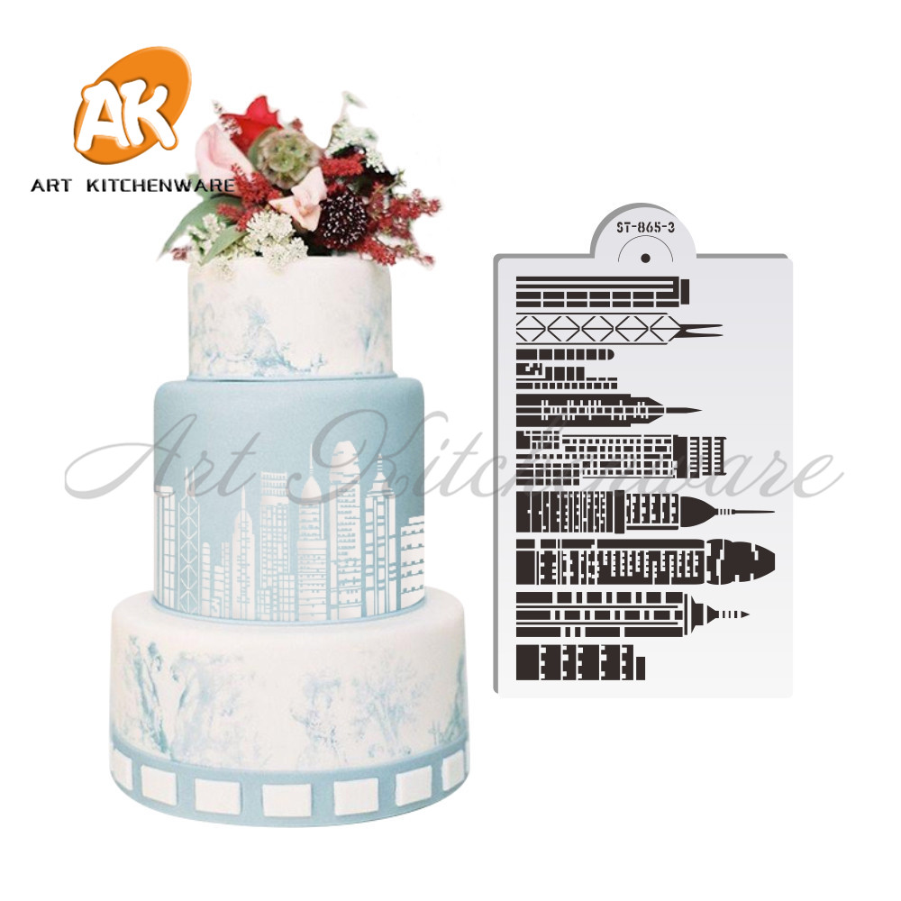 ᐃNuevo hito de gran altura pastel de boda stencil Torre Sears ...