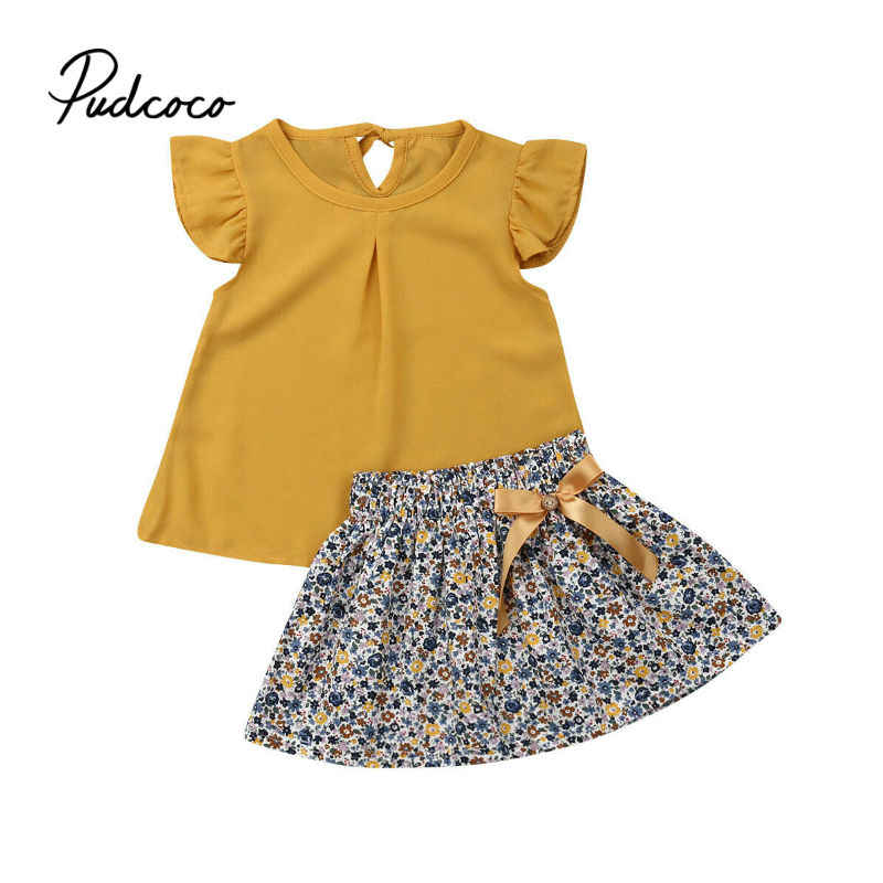 Newborn Kids Baby Girls Clothes short sleeve O-neck pullover solid Ruffle Tops Bow Floral print Shorts 2pcs cotton Outfits