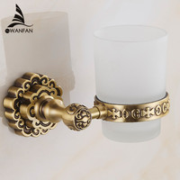 Free Shipping Retro Classic Antique Brass Bathroom Toothbrush Holder Single Glass Cups Carved Pattern Base Wall