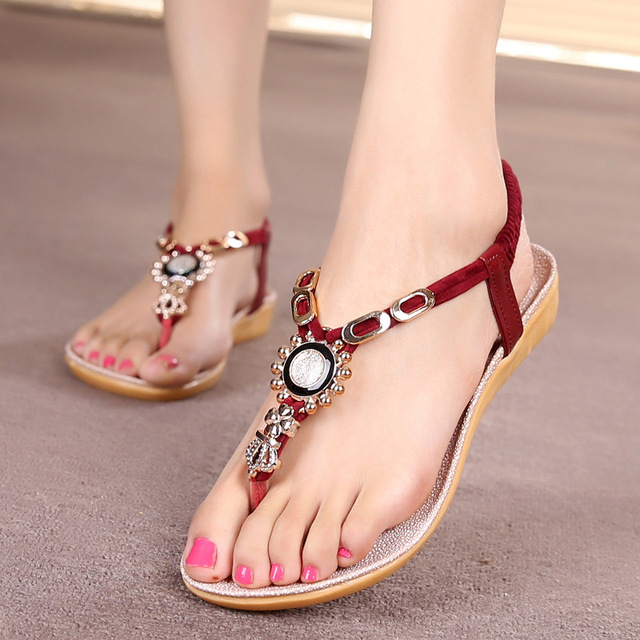 Women Shoes Women Sandals Bohemia Style Ankle-strap Flip Flops Summer Flat Shoes Woman Ladies Shoes Sandalias Mujer