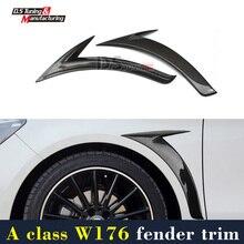 Mercedes w176 fibre de carbone side fender trim pour benz une classe a180 a200 a250 a45 amg