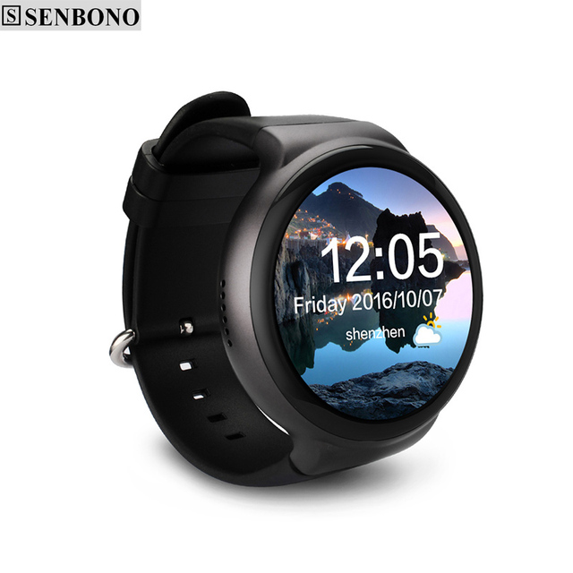 US $159 0 |SENBONO I4 smart watch android os MTK 6580 quad core 1 3GHz  phone support WIFI heart rate Pedometer Google map RAM 1GB ROM 16GB-in  Smart