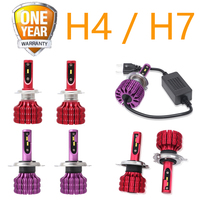 2PCs H4 Car Headlight Bulb 20000 Lumen Canbus X9 H7 H4/9003/HB2 High & Low Beam White Light 6500K Car Headlamp H4