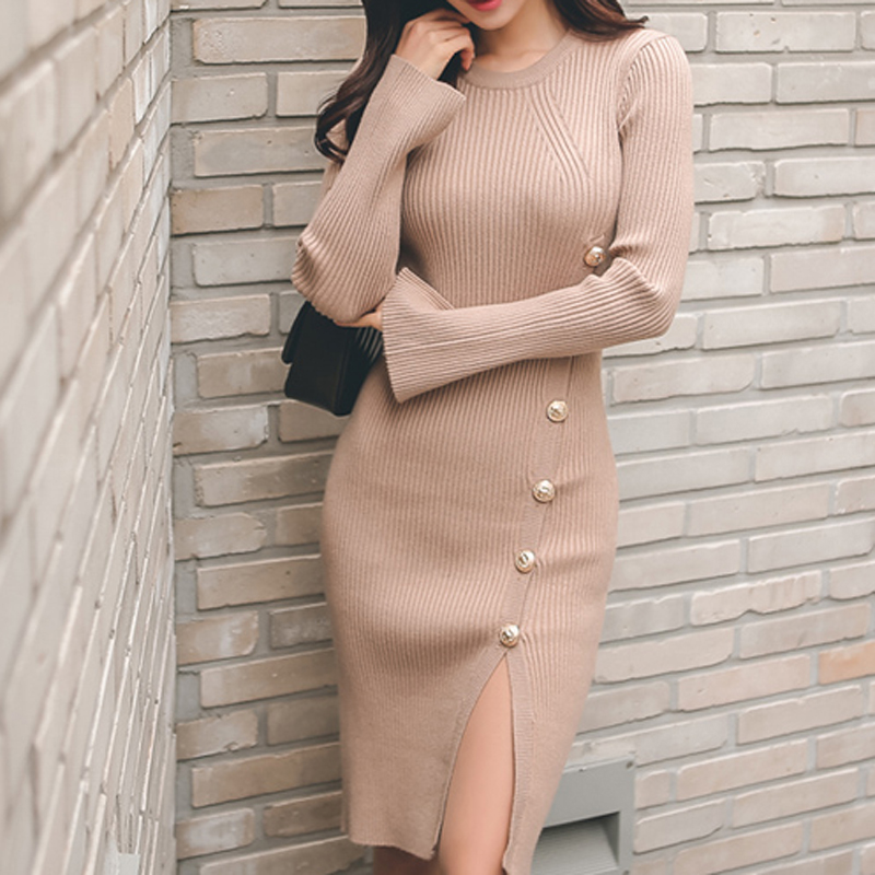 2018 spring women sexy club black women sweater dress slim bodycon knitted sweater button winter party oversized sweater 2023