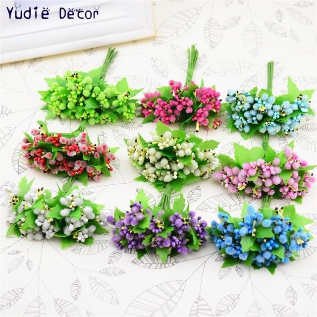 24 pcs Indah Dekorasi DIY Karangan Bunga Putik Benang Sari Bunga Buatan  Bouquet Untuk Pernikahan Hadiah ecdf0e2edc
