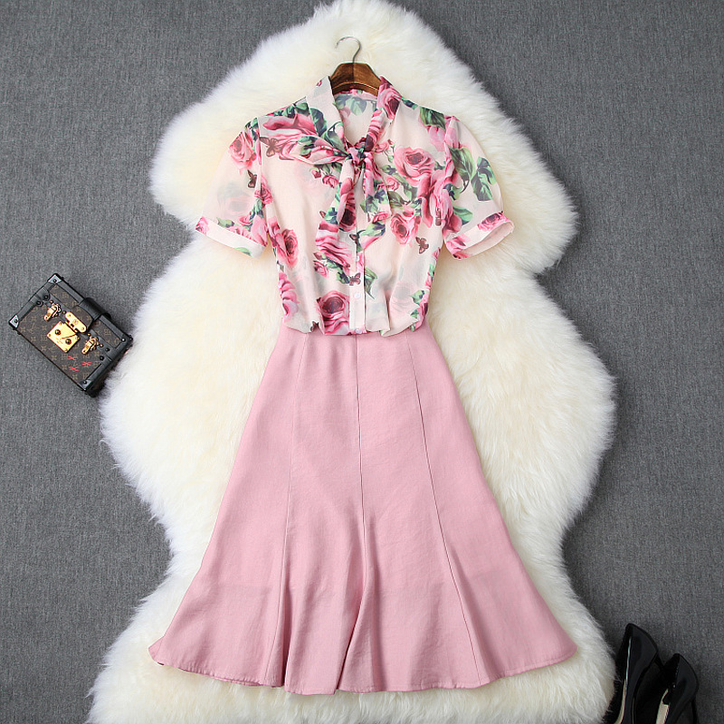 Femmes filles mignon arc col rose floral mousseline de soie chemises a-ligne rose jupes costume doux deux pièces ensemble 2019 tenues d'été