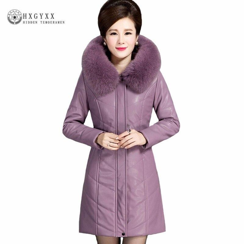 Fur Collar Winter Jacket Women Long Parka Female Hooded Thick Warm Slim Waterproof Leather Coat Plus Size Outwear 6XL Okd441