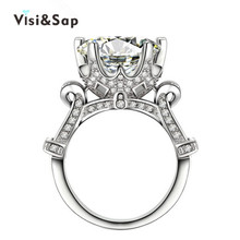White gold plated rings 8ct clear CZ diamond Rings For Men women Wedding engagement vintage bague Bijoux fashion jewelry VSR289