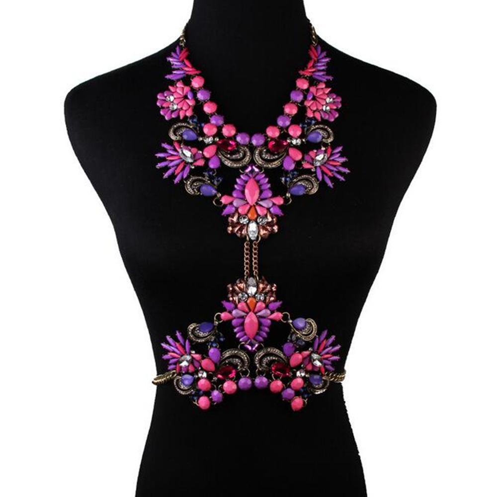 Fashion Women Crystal Stone Collar Chain Pendant Choker Bib Statement Necklace
