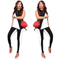 Irregular Sportwear Casual Sets Tracksuit Black and White Stitching Color Sleeveless Off-the-shoulder Tops Women Two-piece Suit