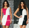Sexy Slimming Women's Dress Tunic Style Sleeveless Bodycon Dress Club Mini Dress Mixed Color With G-string