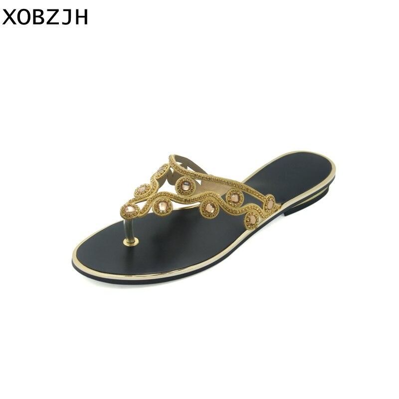 Mujeres Sandalias Moda Imitación Plus Tamaño Verano Slip Mujer De Sexy Señoras Zapatos Oro on Diamantes Xobzjh Fiesta Las 2018 xq7ACaYnwR