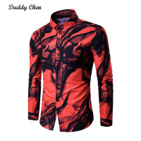 Daddy Chen 2017 New Casual Mens Printing Shirt Men Digital Ink Printing Long Sleeve Shirt Stylish