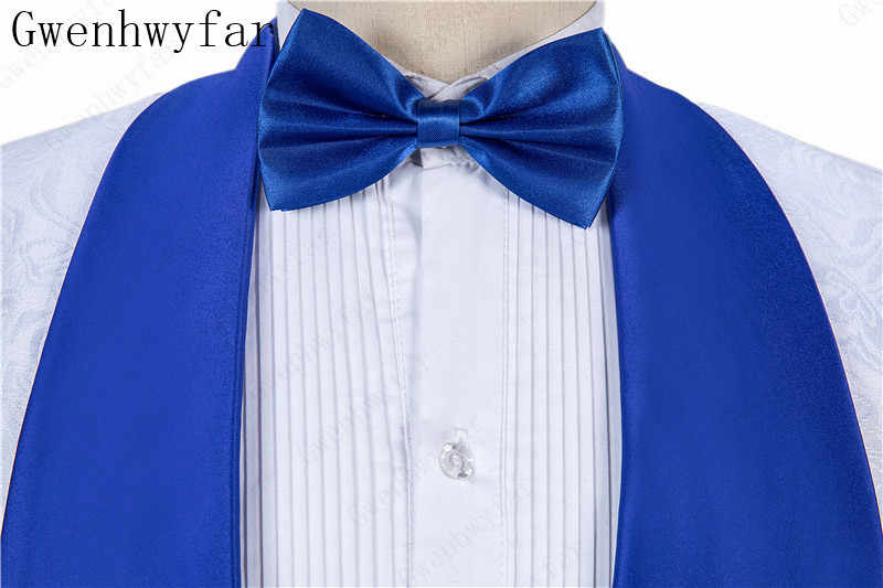 2019 新ファッション白とブルー新郎タキシード花婿の付添人のスーツの男ジャケットブレザー 3 枚スーツ (ジャケット + パンツ + ベスト)