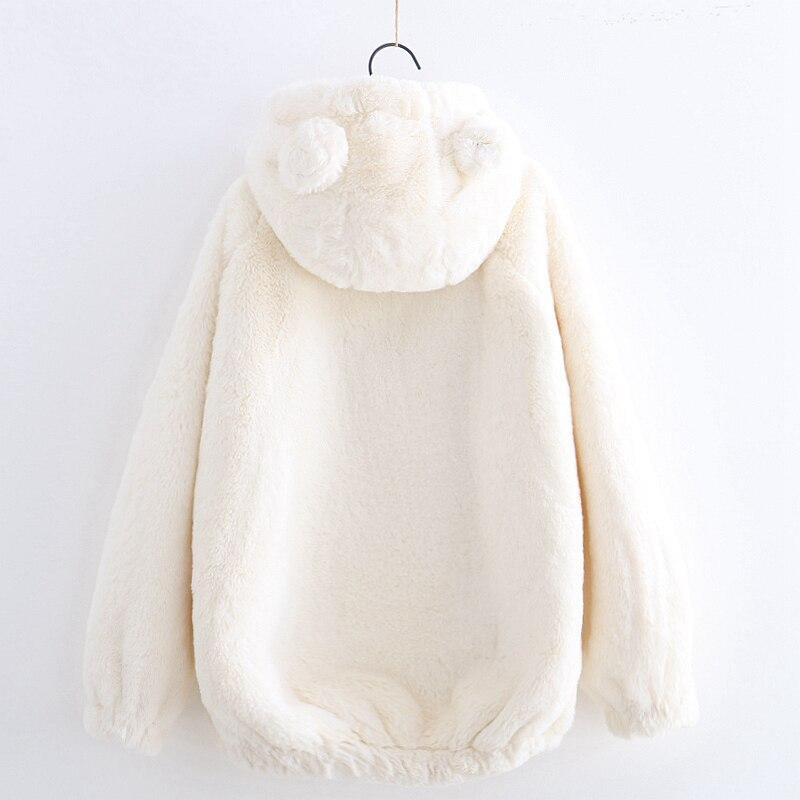 Harajuku Kawaii sweat à capuche en peluche doux hiver pull femmes sweat avec oreilles d'ours mignon solide sweats à capuche étudiant top animé