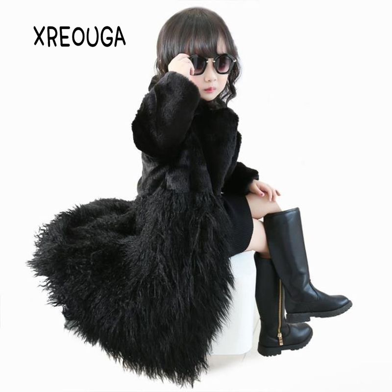 New Winter Girls Warm Cute Thick Long Overcoat Fashion Cool Faux Fur Kids Outwear Warm Photography Prop Comfortable Jacket XFY01 winter mens overcoat faux fur hooded long coat thick warm male parka casual outwear trench korean loose fit casaco masculino