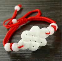 Free Shipping Pure Manual Weaving Red Rope Jade Chinese Knot Style Bracelet Charm Men S And