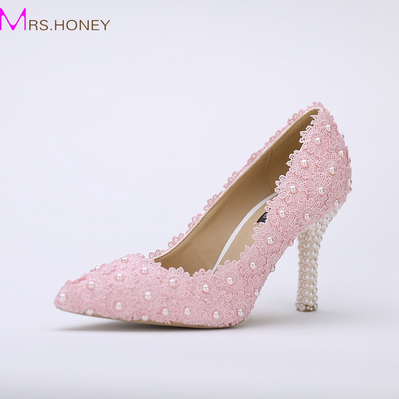 Pink Heels For Wedding: Pointed Toe Wedding Shoes Pink Lace Flower With Ivory