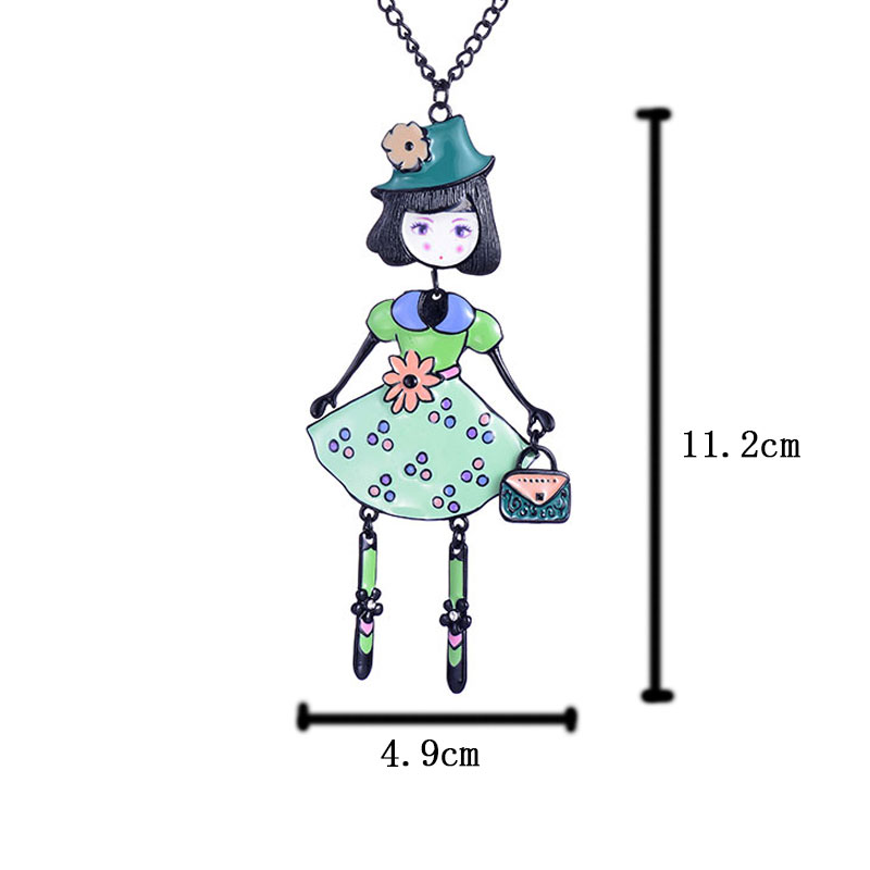 Romantic Girl Pendant Necklace Trendy Cute Doll Pendants Rose Flower Exquisite Fashion Birthday Festival Gift For Women New in Pendant Necklaces from Jewelry Accessories