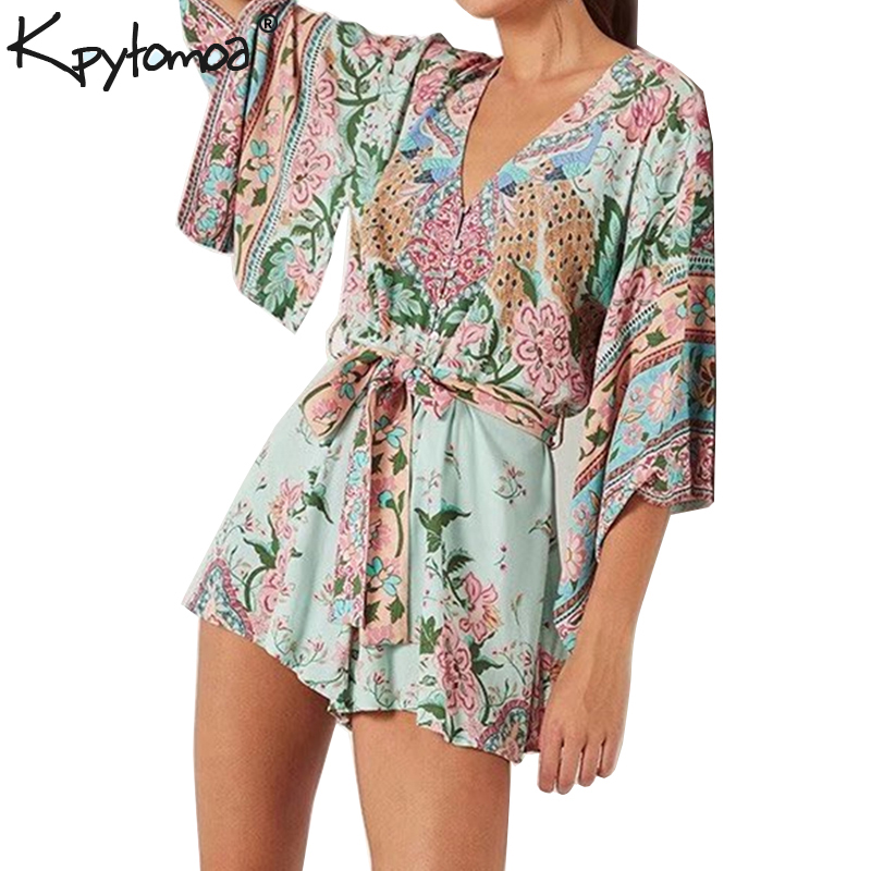 32eeefacfa2b Detail Feedback Questions about Boho Chic Summer Vintage Peacock Floral  Print Sashes Playsuits Women 2019 Fashion V Neck Kimono Sleeve Beach  Jumpsuits Body ...