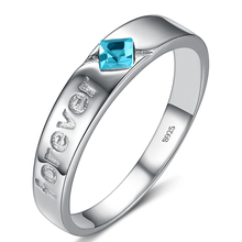 2015 New arrival romantic forever love blue cubic zirconia stone 925 sterling silver ladies`finger wedding rings jewelry свадебное платье blue january love hl1047 2015
