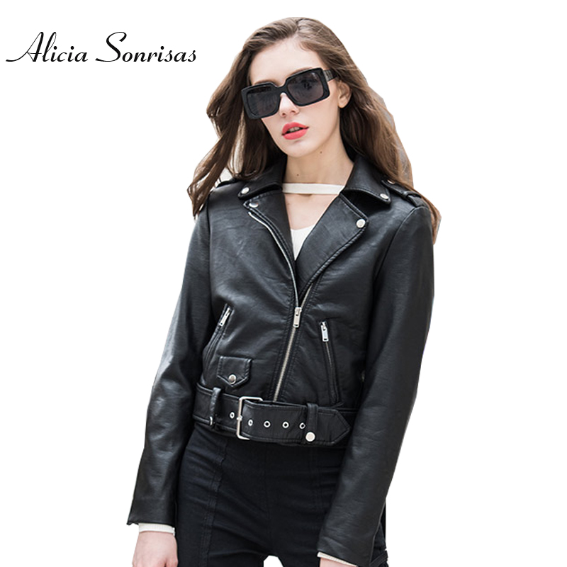Pink   Leather   Jacket Women Short PU   Leather   Jackets New 2018 Short Motorcycle Bikers Faux   Leather   Jackets With Belt AS1075