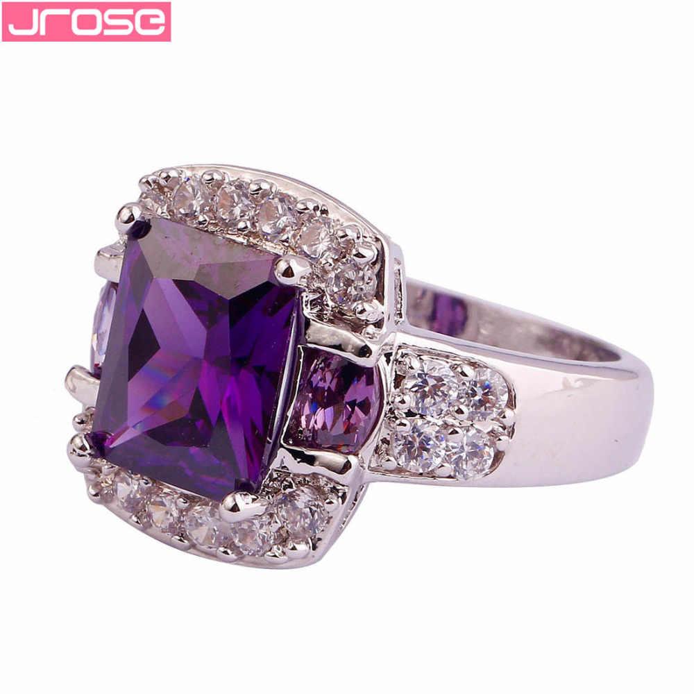 JROSE หมั้นสีม่วงและสีขาว CZ แหวนขนาด 6 7 8 9 10 11 12 13 PARTY Charming ของขวัญขายส่งเครื่องประดับ