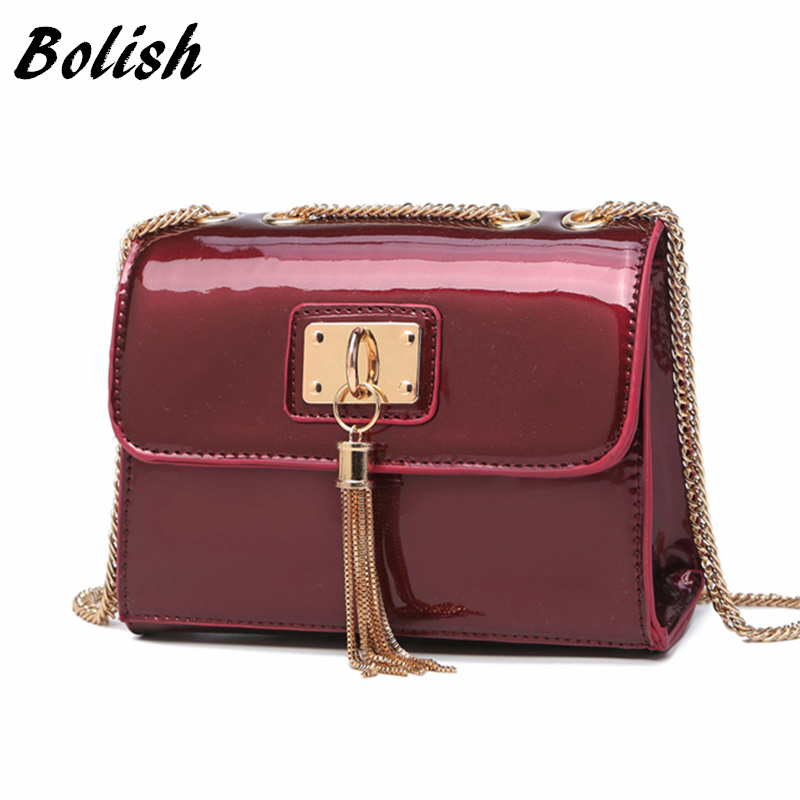 Bolish Fashion  Candy Color PU Leather Handbag Women Bag  Tassel Chain Shoulder bag Femal Messenger Bag yuanyu 2018 new hot free shipping real python skin snake skin color women handbag elegant color serpentine fashion leather bag