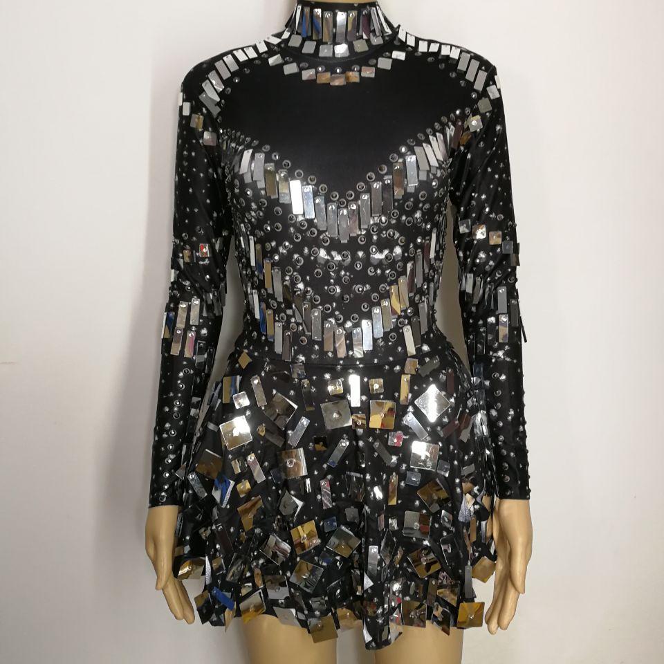 black Sequins mirrors stones sexy female costumes Bright crystals diamond singer nightclub bar show DJ dress performance star