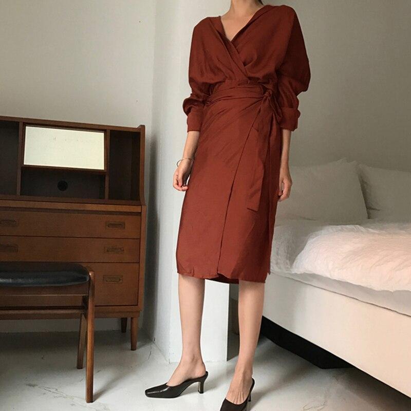 CHICEVER Bow Bandage Dresses For Women V Neck Long Sleeve High Waist Women's Dress Female Elegant Fashion Clothing New 19 21